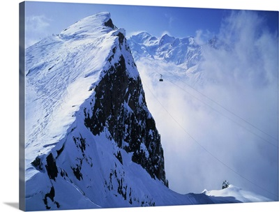 France, Chamonix, Cable-car of Brevent towards Mount Blanc