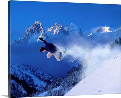 France, Chamonix, snowboard, Snowboard, Aig. Le Verte in background