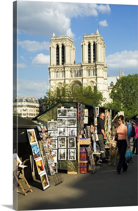 Notre Dame Wall Art france, paris, notre dame de paris, souvenirs stands near the