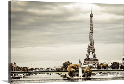 France, Paris, River Seine With Replica Of The Statue Of Liberty, And Eiffel Tower