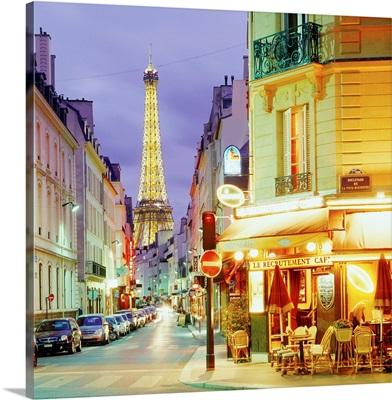 France, Paris, Rue Saint Dominique, street and Eiffel Tower