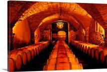France, Provence, Chateauneuf du Pape village, Chateau La Nerthe, cellar