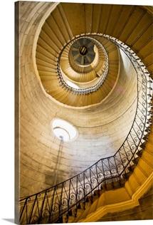 France, Rhone-Alpes, Basilica Notre-Dame de Fourviere, spiral staircase