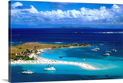 French Antilles, Caribbean, St Martin, Ilet Pinel (islet), beach