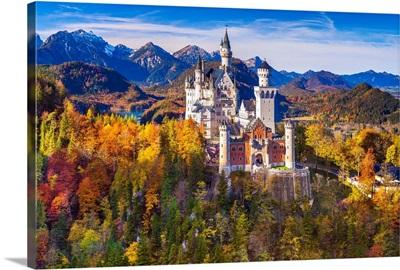 Germany, Bavaria, Swabia, Neuschwanstein Castle And Tannheim Mountains