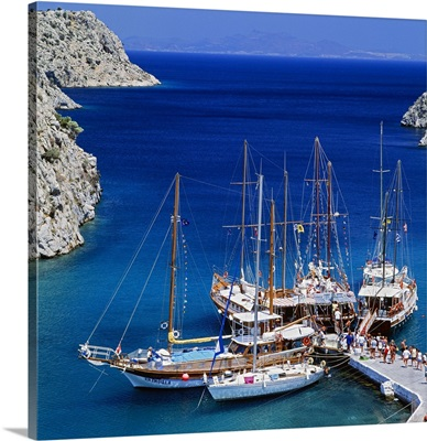 Greece, Aegean islands, Dodecanese, Kalymnos island, Mediterranean sea, Fjord Vathi