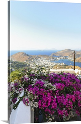 Greece, Aegean islands, Dodecanese, Patmos island, View of Skala from Chora