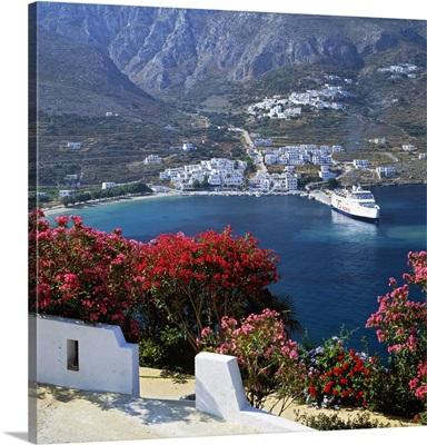 Greece, Amorgos island, Ormos Aigialis, ferry boat in harbour
