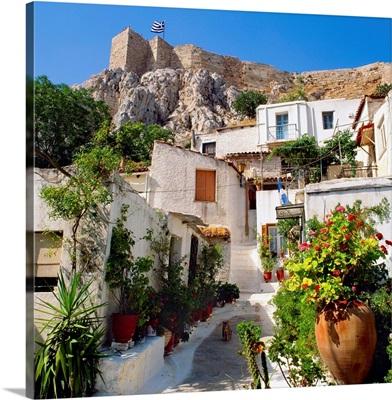 Greece, Athens, Stratonos Street and Acropolis