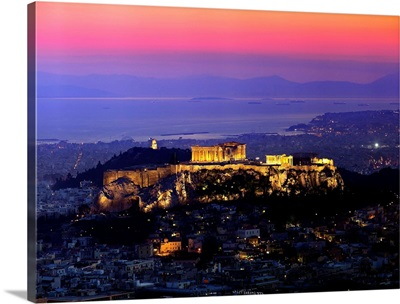 Greece, Athens, View of Acropolis and Parthenon with Piraeus in the background