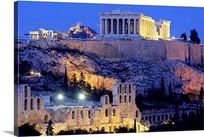 Greece, Attica, Athens, View of the Acropolis with the Parthenon