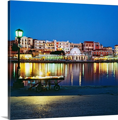 Greece, Crete, Chania, Mediterranean sea, Harbour and the old town with the mosque