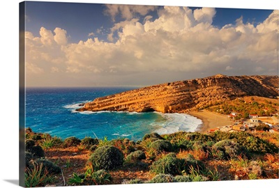 Greece, Crete Island, Iraklion, Matala, Golden sandy beach and village