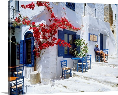 Greece, Cyclades, Amorgos, Hora, main town of island, typical tavern