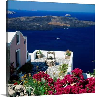 Greece, Cyclades, Santorini, View towards the crater