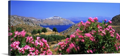 Greece, Dodecanese, Astypalaia, View towards the town of Chora and the coast