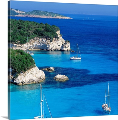 Greece, Ionian Islands, view towards Voutoumi beach and Paxos island