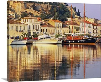Greece, Peloponnese, Argolis, Nafplio, Nauplia, Mediterranean sea, Old town and harbour