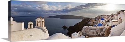 Greece, Santorini island, Oia village, typical church bells overlooking the sea