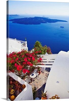 Greece, Santorini island, View towards the Caldera and Kameni Island