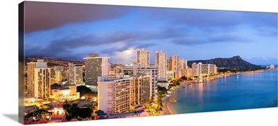 Hawaii, Tropics, Pacific ocean, Oahu island, Honolulu, Waikiki beach and Diamond Head