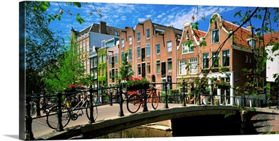 Holland, Amsterdam, houses along Bloem Gracht