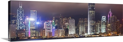 Hong Kong, City skyline illuminated at night with International Finance Center