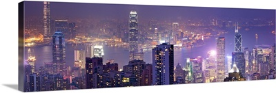 Hong Kong, City skyline with the Victoria Harbor, view from Victoria Peak at night