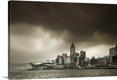 Hong Kong, Harbor skyline with Central Plaza building and Exhibition Center