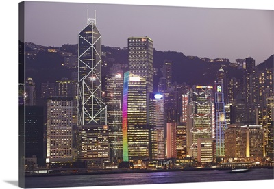 Hong Kong, skyline with Central Plaza building and Bank of China Tower