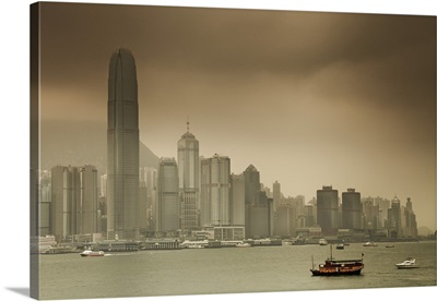 Hong Kong, skyline with Central Plaza building and the International Financial Center