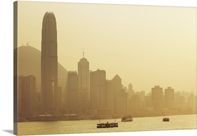 Hong Kong, skyline with Central Plaza building and the International Financial Centre