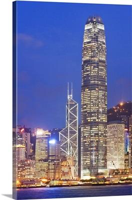 Hong Kong, the city illuminated at night with International Finance Center