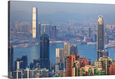 Hong Kong, Victoria Harbor, the International Finance Center and Kowloon
