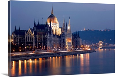 Hungary, Budapest, View on the Parliament over Danube River