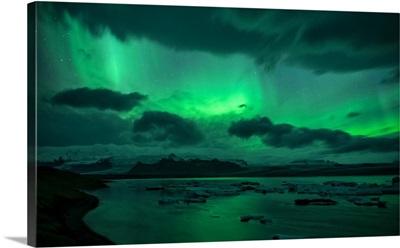 Iceland, South Iceland, Jokulsarlon, Northern Lights