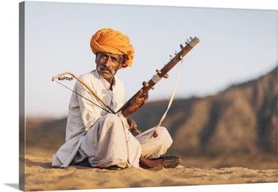 India, a nomadic musician, Pushkar Camel Fair Ground