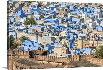 India, Rajasthan, Jodhpur, Blue City, view from the Mehrangarh Fort
