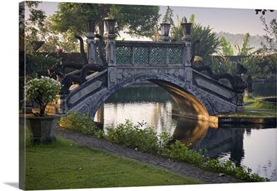 Indonesia, Bali Island, Amlapura, A bridge in morning light at Tirtagangga