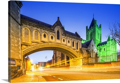 Ireland, Dublin, Christ Church Cathedral by night