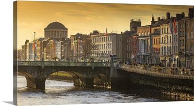 Ireland, Dublin, Panoramic view of Dublin's skyline at sunset