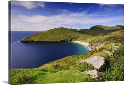 Ireland, Mayo, Achill Island, View of Keem Bay, near Achill Head