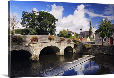 Ireland, Mayo, Westport, View along The Mall with River Carrowbeg