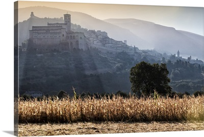 Italy, Assisi, View of town with monuments from country at dawn