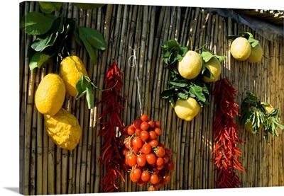 Italy, Campania, Amalfi Coast, Amalfi, Lemons, Tomatoes And Red Chilies