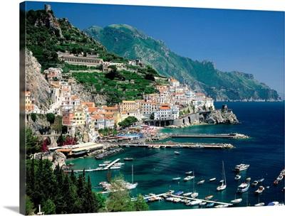 Italy, Campania, Amalfi Coast view over town and harbor