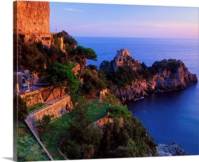 Italy, Campania, Amalfi, The saracen tower of Conca dei Marini