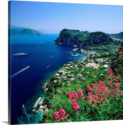 Italy, Campania, Capri, Marina Grande towards Gulf of Naples and Peninsula of Sorrento