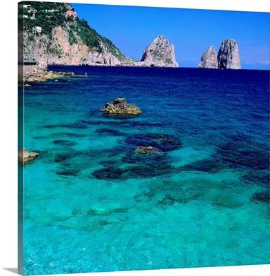 Italy, Campania, Capri, Marina Piccola and Faraglioni