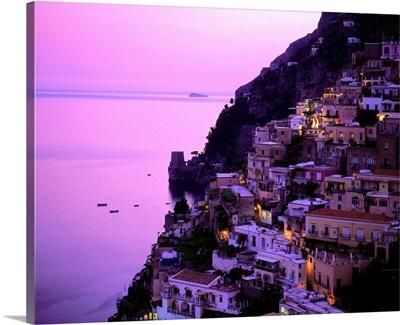 Italy, Campania, Positano, Amalfi coast, view over town at dusk